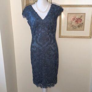 Tadashi Soji V-Neck Stl Blue Lace dress Sz.10 NWT